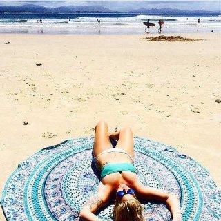SALE! ブルー エスニック柄 ペイズリー ラウンド ラグ ビーチマット SEA ハワイ ビーチラグ