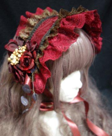 クラシックダブルレースヘッドドレス(ボルドーブラウン×ボルドー・薔薇柄ジャガード)