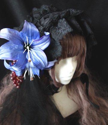 百合と葡萄のヘッドドレス(ブラック×ブルー)