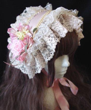 ボリュームレースヘッドドレス(ピンク生成)