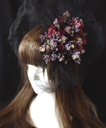 ダメージチュール ゴーストヘッドドレス(ブラック×マゼンタ)