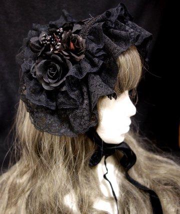 リボンコルセットヘッドドレス(ブラック)