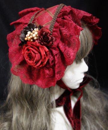 リボンコルセットヘッドドレス(ボルドー)
