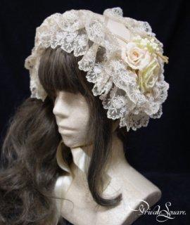 リボンコルセット チュールレースヘッドドレス(クリームベージュ×フラマン)