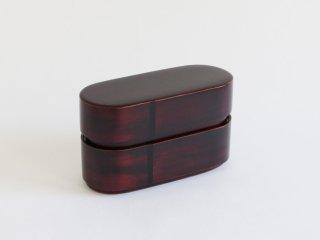 曲輪6寸弁当箱(二段)  木地溜
