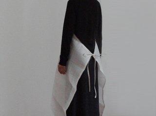 手織り苧麻布エプロン 白