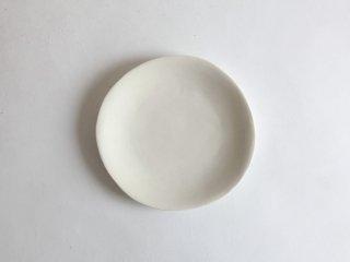 磁土焼〆丸い皿 小