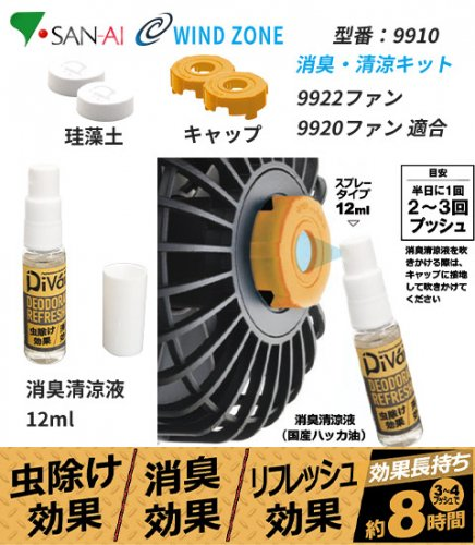【DiVaiZ製ファン用】デオドラントリフレッシングキット 虫除け・消臭・清涼リキッド|三愛 9910