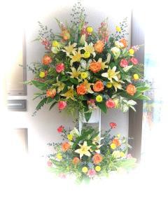 お祝い2段スタンド花/イエロー系