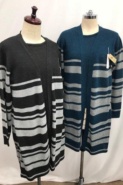 日本製!!<br> アルパカ混☆アンサンブル風チュニックセーター(グレー・ターコイズ)M〜Lサイズ