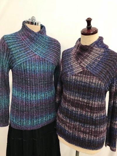 2000円! <br>日本製☆デザインニットセーター(ブルー系・パープル系)フリーサイズ