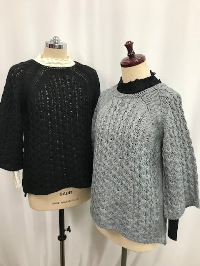 2000円!送料込<br> 日本製☆ウール混ニットセーター(ブラック・グレー)M〜Lサイズ