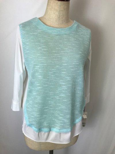 メール便で送料無料!!<br> マリンブルーがきれいな異素材シャツ(フリーサイズ)マリンブルー×ホワイト