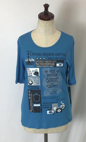 ☆新商品☆デザイン Tシャツ 綿100% 日本製 ブルー