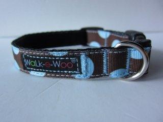 Walk-e-Woo Dot Collar Blue&Brown (XS)