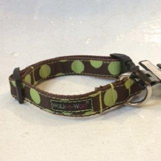 Walk-e-Woo Dot Collar Green&Brown (XS)
