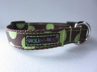 Walk-e-Woo Dot Collar Green&Brown (S)