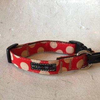 Walk-e-Woo Dot Collar Tan&Red (S)