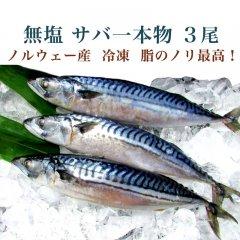 無塩 サバ一本物 3尾(ノルウェー産)冷凍