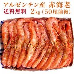 【送料無料】アルゼンチン産 有頭赤海老 2kg(50尾前後)【えび エビ 海老】