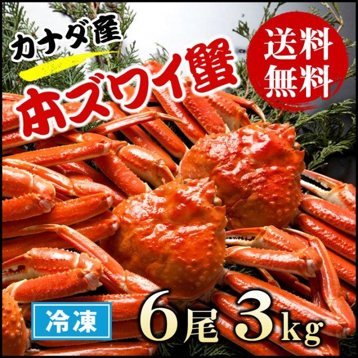 本ズワイ蟹 3kg  1尾500g前後×6尾  【送料無料】  かに 蟹 カニ