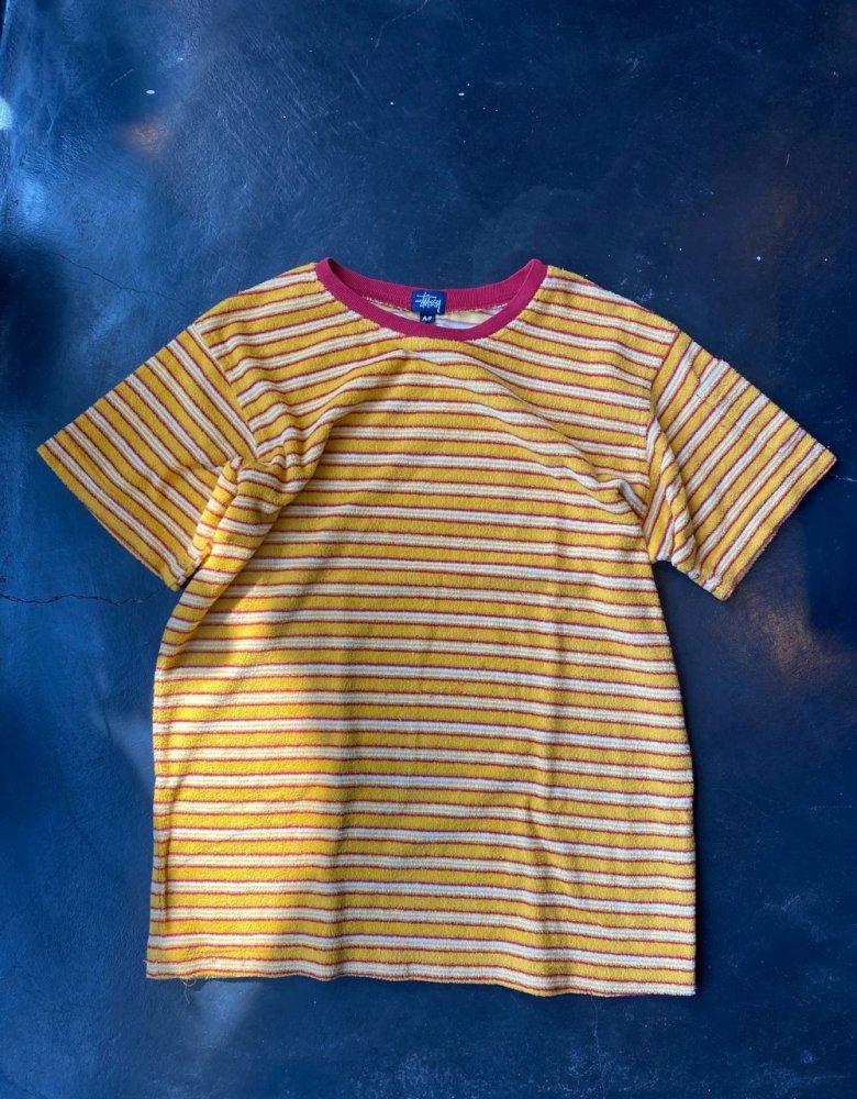 Stussy パイル地Border T shirts  Mens M