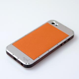 iPhone5ケース 白ヘアライン X 革