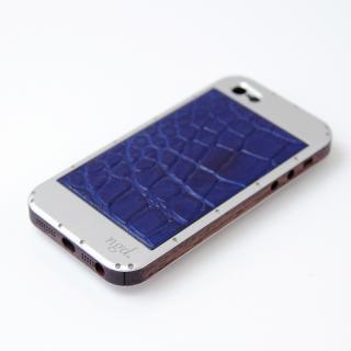iPhone5/5Sケース 白ヘアライン X 革