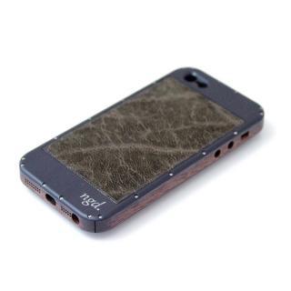 iPhone5/5Sケース 黒ヘアライン X 革