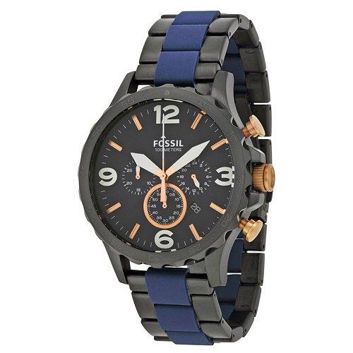 【Fossil/フォッシル】 クオーツ腕時計 Nate クロノグラフ ブルー×ブラック メンズ ダイバーズウォッチ FSJR1494