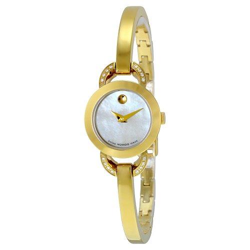 【Movado/モバード】 クオーツ腕時計 Rondiro ホワイトパールダイアル ダイアモンド ゴールド レディース ドレスウォッチ MV06068…