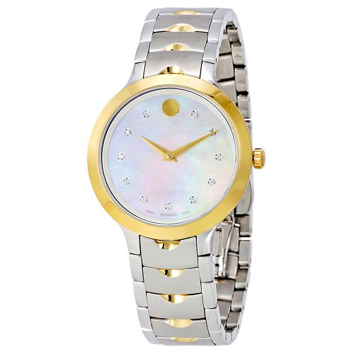 【Movado/モバード】 クオーツ腕時計 Luno ホワイトパールダイアル シルバー×ゴールド レディース ドレスウォッチ MV06070…