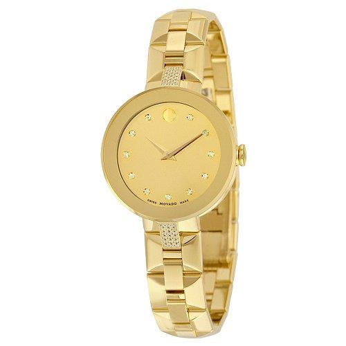 【Movado/モバード】 クオーツ腕時計 Sapphire イエローミラー×ダイアモンドダイアル ゴールド レディース ドレスウォッチ MV06068…