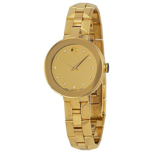 【Movado/モバード】 クオーツ腕時計 Sapphire シャンパン×ダイアモンドダイアル ゴールド レディース ウォッチ MV06068…