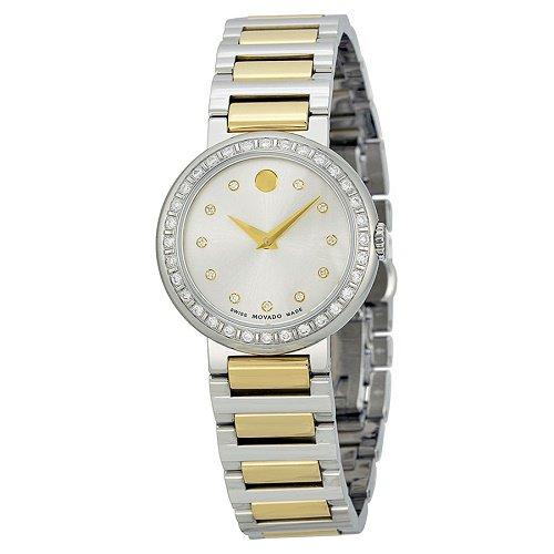 【Movado/モバード】 クオーツ腕時計 Concerto ダイアモンドベゼル シルバー×ゴールド レディース ドレスウォッチ MV06067…