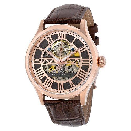 【Brooklyn Watch Co./ブルックリンウォッチ】 自動巻き腕時計 Bridgewater スケルトン レザー メンズ ドレスウォッチ BW-201-M3831