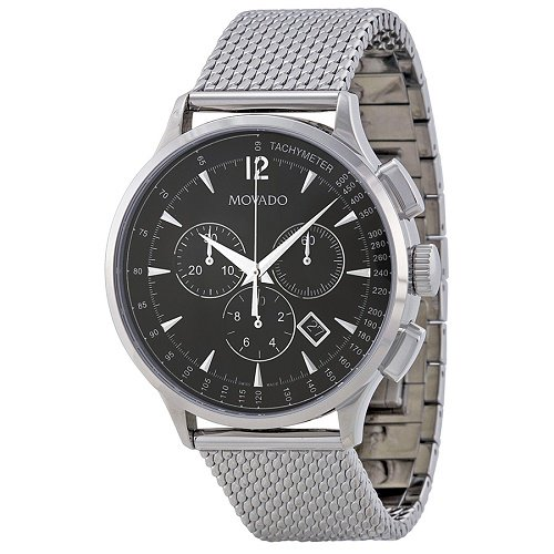 【Movado/モバード】 クオーツ腕時計 Circa クロノグラフ ブラックステンレス メンズ ウォッチ MV0606803