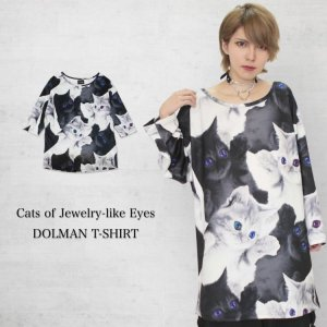 <img class='new_mark_img1' src='https://img.shop-pro.jp/img/new/icons1.gif' style='border:none;display:inline;margin:0px;padding:0px;width:auto;' />Cats of Jewelry-like Eyes ドルマンTシャツ