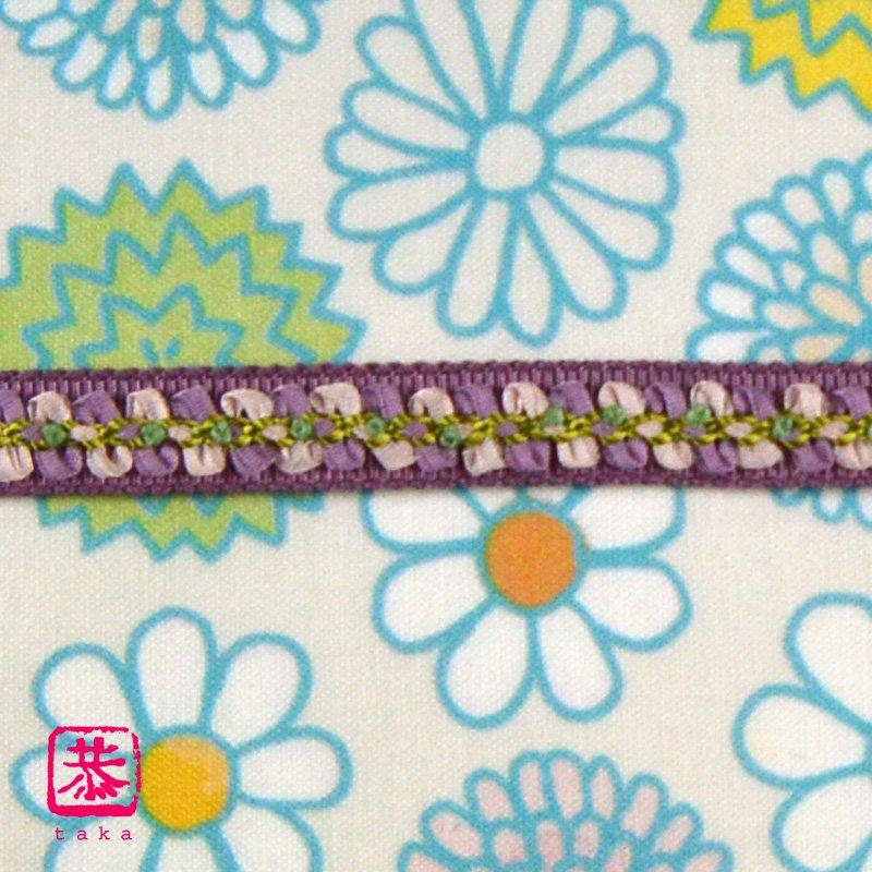 恭 お花帯締め(紫)