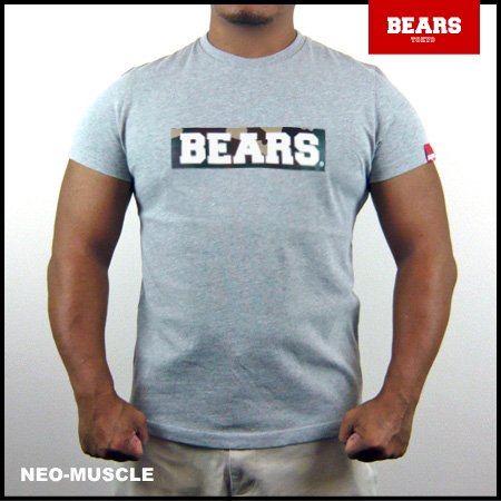 ■ BEARS TOKYO Tシャツ MILITARY CAMO BIG BOX LOGO (ミリタリー カモ ビッグボックス ロゴ) グレー