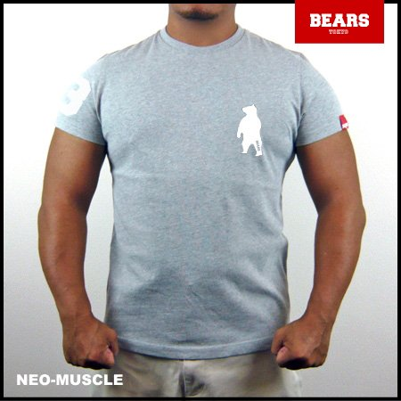 <img class='new_mark_img1' src='//img.shop-pro.jp/img/new/icons13.gif' style='border:none;display:inline;margin:0px;padding:0px;width:auto;' />■ BEARS TOKYO Tシャツ ANIMAL BEAR TEE (ベアーT) グレー×ホワイト