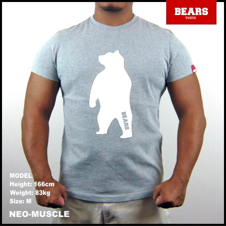 <img class='new_mark_img1' src='//img.shop-pro.jp/img/new/icons13.gif' style='border:none;display:inline;margin:0px;padding:0px;width:auto;' />■ BEARS TOKYO Tシャツ ANIMAL BIG BEAR TEE (ビッグ ベアーT) グレー×ホワイト