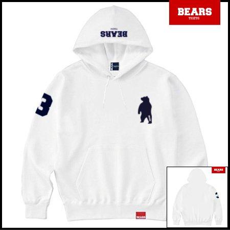 ■ BEARS TOKYO プルオーバースウェットパーカー ANIMAL BEAR PULLOVER PARKA(ベアーズプルオーバーパーカ)ホワイト