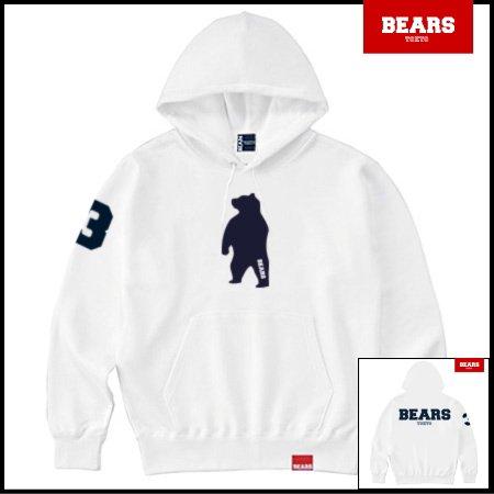 ■ ANIMAL BEAR MIDDLE プルオーバースウェットパーカー BEARS LOGO BACK PRINT(ベアーズロゴバックプリント)ホワイト