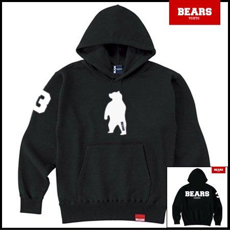 ■ ANIMAL BEAR MIDDLE プルオーバースウェットパーカー BEARS LOGO BACK PRINT(ベアーズロゴバックプリント)ブラック