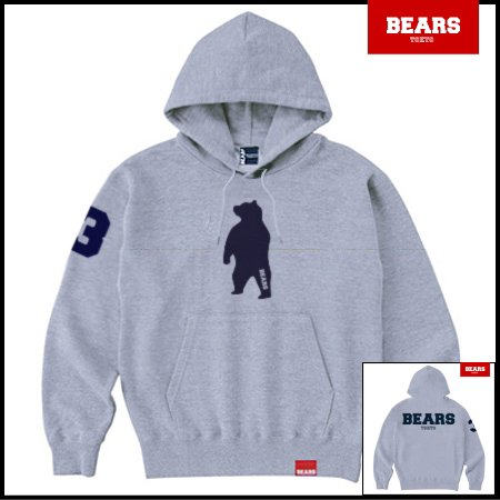 ■ ANIMAL BEAR MIDDLE プルオーバースウェットパーカー BEARS LOGO BACK PRINT(ベアーズロゴバックプリント)グレー