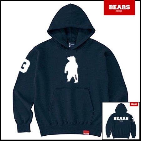 ■ ANIMAL BEAR MIDDLE プルオーバースウェットパーカー BEARS LOGO BACK PRINT(ベアーズロゴバックプリント)ネイビー