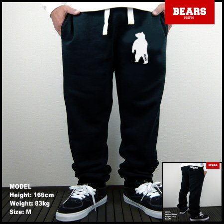 ■ BEARS TOKYO スウェットパンツ ANIMAL BEAR(アニマルベアースウェットパンツ)ブラック