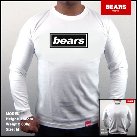 <img class='new_mark_img1' src='//img.shop-pro.jp/img/new/icons13.gif' style='border:none;display:inline;margin:0px;padding:0px;width:auto;' />■ BEARS TOKYO ロングスリーブTシャツ BEARS UK ROCK (ベアーズUKロック)ホワイト×ブラック