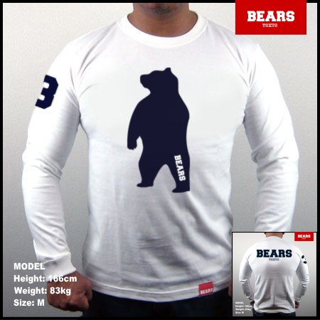 <img class='new_mark_img1' src='//img.shop-pro.jp/img/new/icons13.gif' style='border:none;display:inline;margin:0px;padding:0px;width:auto;' />■ BEARS TOKYO ロングスリーブTシャツ ANIMAL BIG BEAR (アニマルビッグベアー)ホワイト